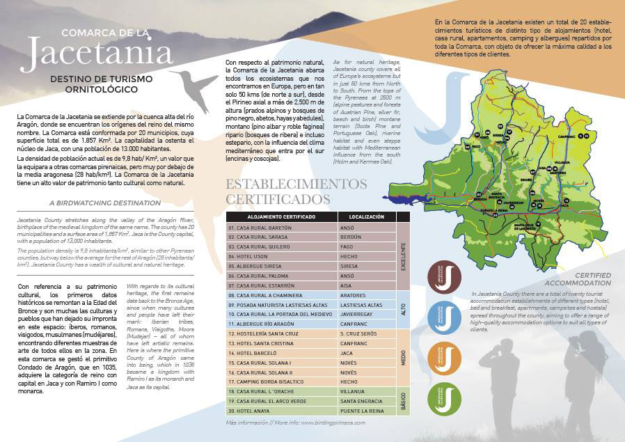 Nuevos folletos de turismo ornitológico en la Jacetania
